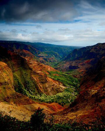 beautiful Verticle image of the lush Waimea Canyon, Kauai