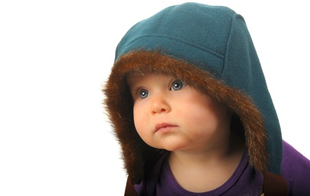 innocent: Very Cute Image of a Young Girl Newborn In Jacket