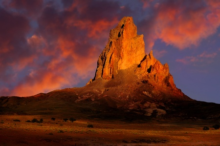 state of arizona: Beautiful Color Image of monument valley at sunset Stock Photo