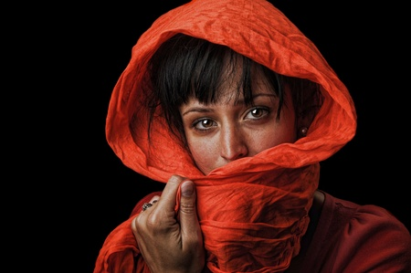 Image of a Beautiful Latino woman with red scarf