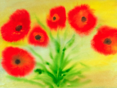 Image of poppies in Paper in Watercolor media photo