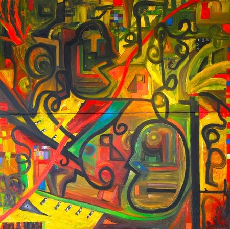 CUADROS ABSTRACTOS: Imagen de una pintura al óleo sobre lienzo original