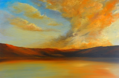 landscape: Very Nice Image of an Original Oil Painting On Canvas