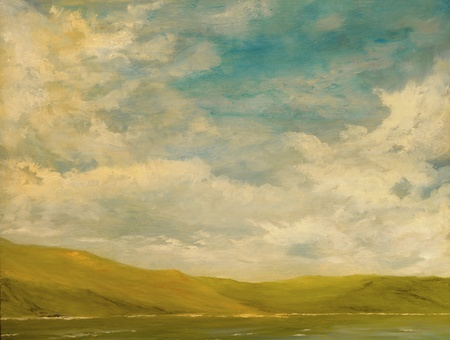 Nice Landscape Oil Painting of the mountains and sea Imagens