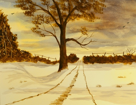 Beautiful Winter scene Painting done In Watercolor Stock Photo - 10977051