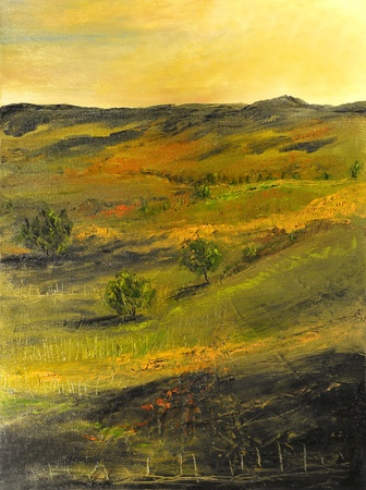 Image of a Beautiful landscape Oil Painting on Canvas photo