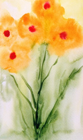 very Nice Watercolor Painting Of Poppies on paper