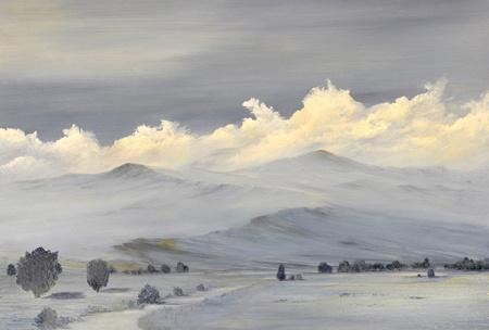 Beautiful Original oil painting of the Sierra Nevada mountain Range photo