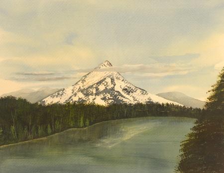Beautiful Watercolor Painting Of Mt Hood, Washington photo