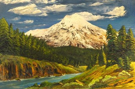 heel mooi beeld van een Origineel Olieverfschilderij Stockfoto