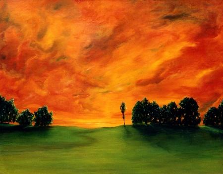 Schönes Bild von einem Original Öl auf Leinwand Standard-Bild - 10977070