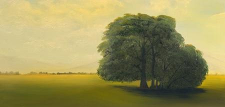 Mooi Beeld van een eenzame boom in olieverf op linnen Stockfoto
