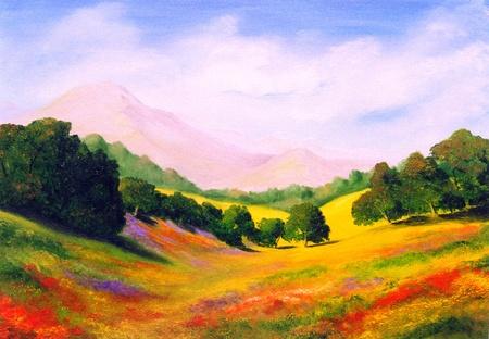 photo  beau paysage d origine peinture a l huile sur toile