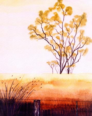 Schöner original Landschaft Aquarellfarbe auf Papier Standard-Bild - 10977088