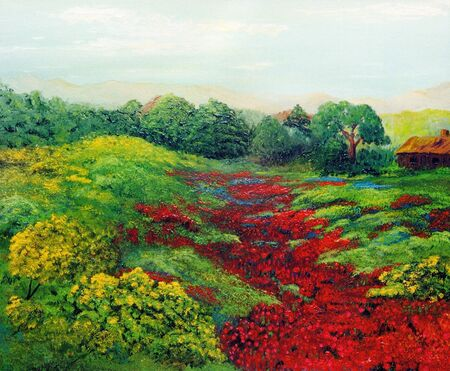 Nice original landscape painting in Oil On Canvas Stock Photo - 10977109
