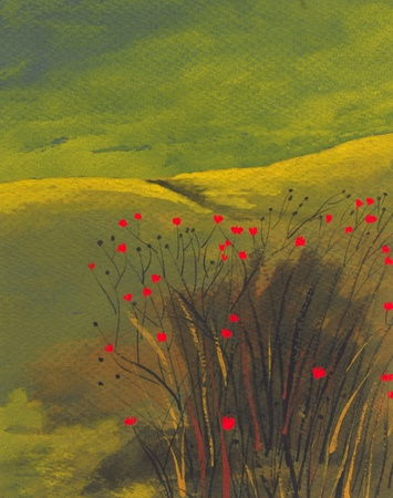 acrylics: A very Nice primitive landscape watercolor painting Stock Photo