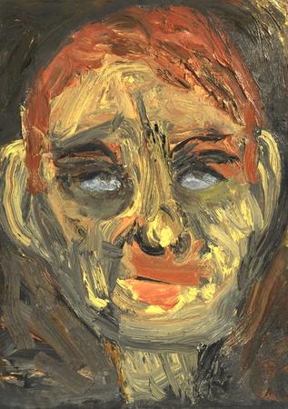 figurative: An Interesting Original Figurative Abstract Portrait in Oil