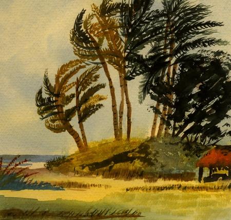 Nice Image of a Island scene in Watercolor after Szabo photo