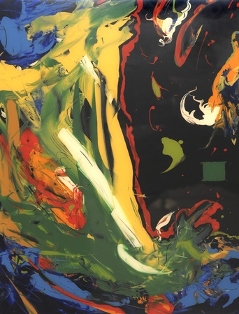 very Nice large Scale Abstract Painting On Glass in Verso