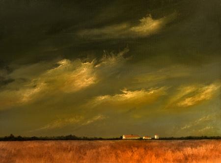 納屋と小麦畑で美しいオリジナル風景画