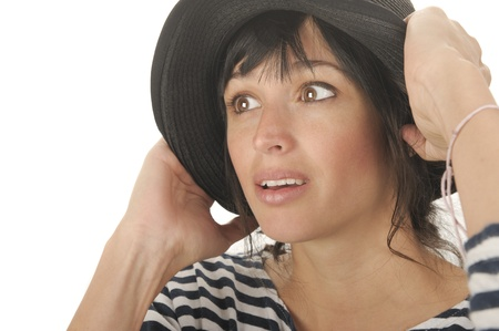 Nice Image of a Latino Woman With hat On White Stock Photo - 10996827