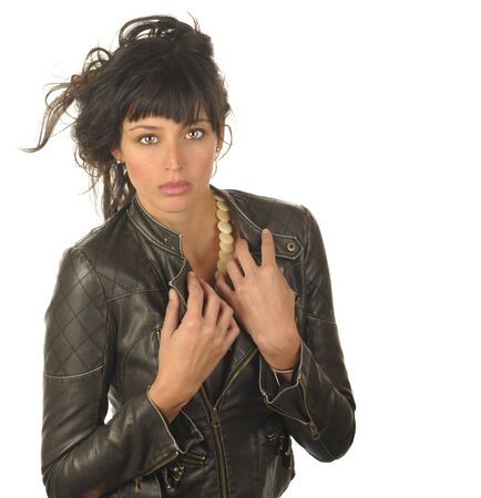 Beautiful Isolated Image of a Latin woman in Leather Stock Photo - 10996869