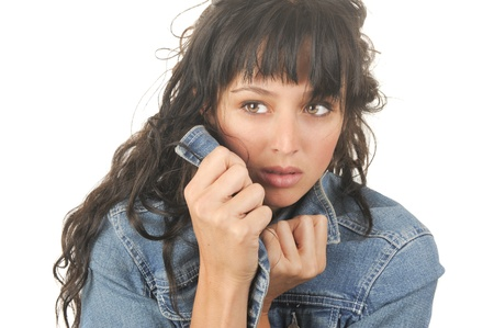 Beautiful Isolated Image of a woman In Jean jacket Stock Photo - 10996843