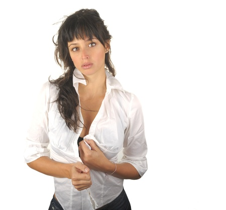 spanish style: Beautiful Image of a Latino Woman Isolated on White