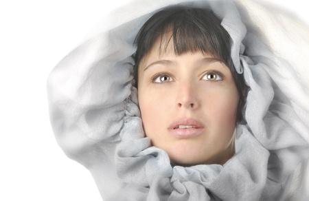 Beautiful Image Of a Latino Woman On White Stock Photo - 10996839