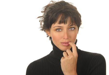 Beautiful Image of a Latino Woman on White Stock Photo - 10996796