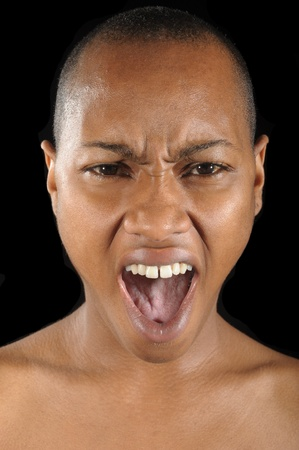 Nice fun Image of a woman Yelling In anger photo