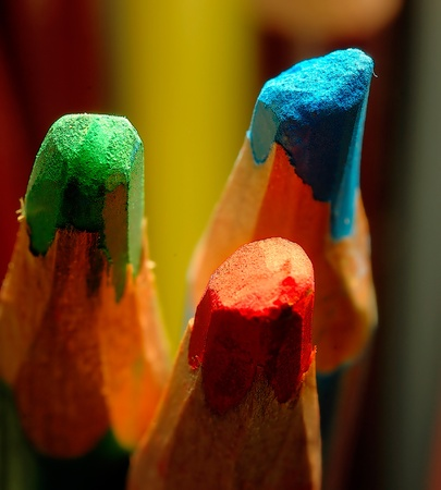 Close up macro of Red, Green And Blue pencils. RGB concept