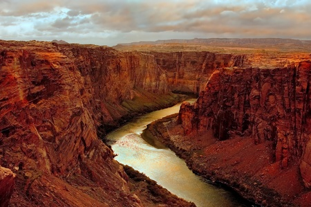rock canyon: Beautiful Image of the beginning of the grand canyon at Lake Powell Stock Photo
