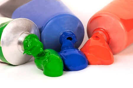 Close up image of red green and blue acrylic paith