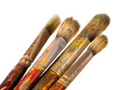 easel: Group of fine art brushes on a white background