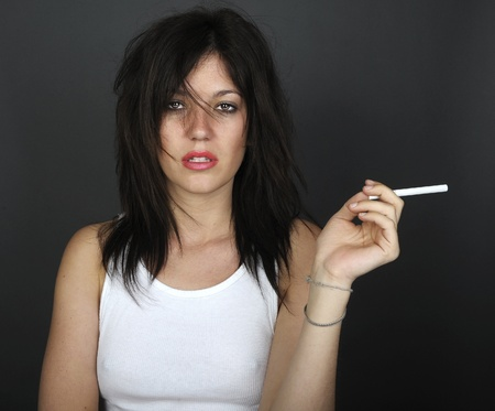 Very Cool Image of a Glamour Model With Cigarette Stock Photo - 11089116