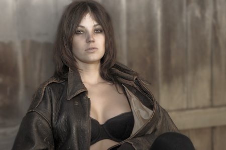 Beautiful Outdoor Portrait of a woman in Bra and Leather Stock Photo - 11080137