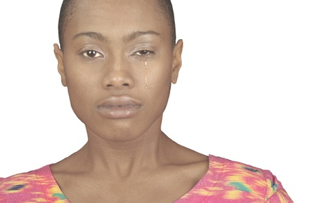 A very Striking Image of a Black Woman Crying Stock Photo