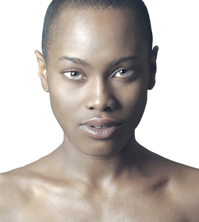 black woman face: Beautiful Isolated Image of a Afro American Woman Stock Photo