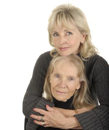 madre e hija: Imagen muy agradable de una madre y de la hija Retrato vertical Foto de archivo