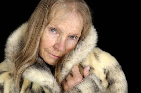 Very Nice Image Of a Senior Woman In Fur