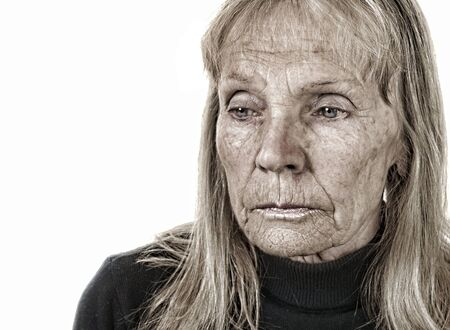 Nice Image of a Sad woman On White photo