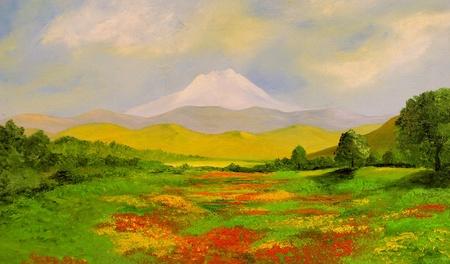 Mooi oorspronkelijke landschap olieverf schilderij op hout