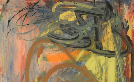 Nice Abstract painting on Glass in verso photo