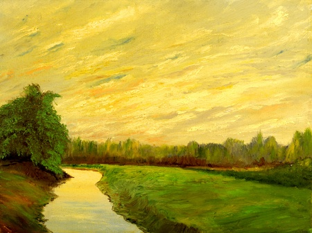 A beautiful original landscape painting oil on canvas photo