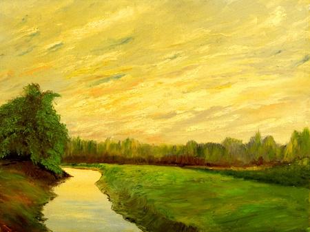 A beautiful original landscape painting oil on canvas Stockfoto