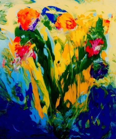 Afbeelding van olie  acryl gemengd met zand abstracte op glas in Verso