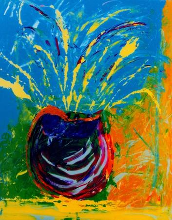 řemeslo: Pěkný obraz původní abstraktní malba na sklo Reklamní fotografie