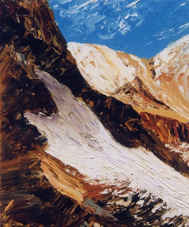 gold textured background: Nice image Of Snow On a Mountain,Oil On Canvas Stock Photo