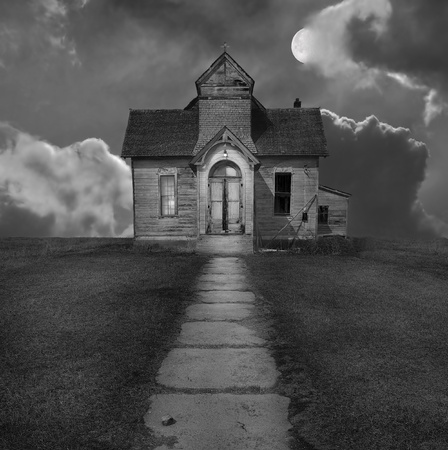 Image of a very Old spooky mormon Church